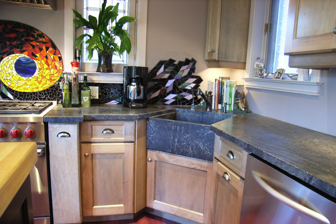 laminate countertop with white cabinets